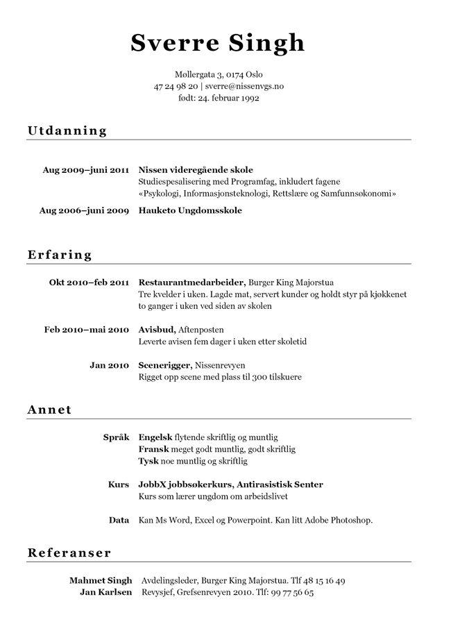 Eksempel på CV | Med gratis cv mal